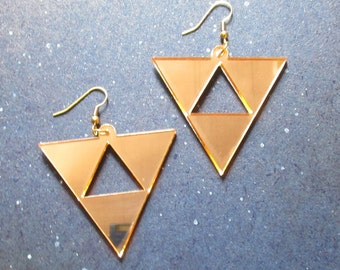 Princess Hilda's Triforce Earrings Legend of Zelda A link Between Worlds Cosplay Mirrored Gold Acrylic Big Dangle Hypoallergenic Option
