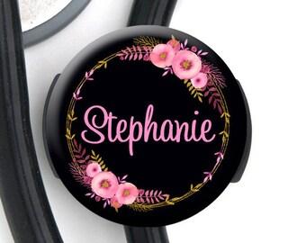 Stethoscope Tag - Pink Gold Floral - Personalized Name Badge Reel, Steth Tag, Lanyard, Carabiner Nurse Badge / Steth ID / LPN / RN