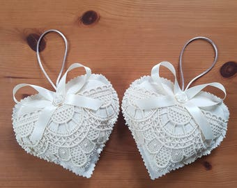2 fabric heart door pillow linen lace old idea Valentine