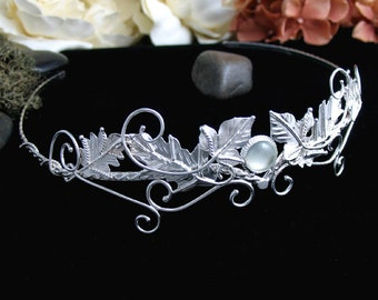 Elvish Celtic Faery Leaves Wedding Circlet Headpiece, Bridal Accessory, Sterling Silver Handmade, One of a Kind Wedding Headpiece, Diadem