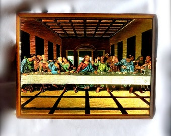 Last Supper, Good Friday, Religious Art, Fluorescent 8 x 6 Inches, Easter Decor, Kitsch Wall Hanging, Christian Religious Gift
