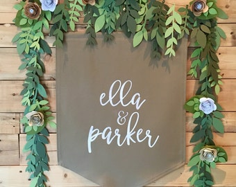 Personalized Banner & Mixed Leaf Paper Garland Backdrop