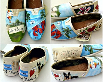 Bride's Love Story Wedding Shoes Custom Wedding Shoes Honeymoon Shoes Unique Wedding Shoes Custom TOMS Wedding Flats Memories on Shoes