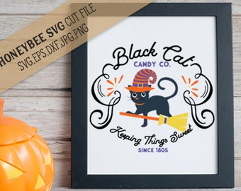 Black Cat Candy Co svg Halloween svg Halloween decor svg Halloween shirt svg Halloween Cat svg Silhouette svg Cricut svg Black Cat svg