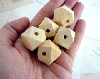 Geometric Wooden Beads - Natural - 20mm - Pack of 20