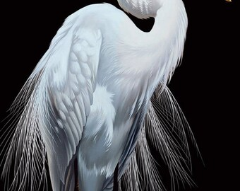 Contemporary Egret Painting Reproduction • PATIENCE • Tropical Bird • Black and White Bird Art • Black and White Art • Great White Egret