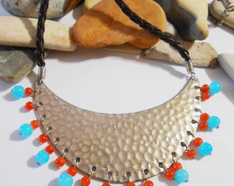 Half moon necklace Turquoise blue and orange Leather Glass Hammered Silver Crescent Moon Bib necklace Extra long earrings PRIORITY MAIL