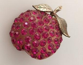 Vintage FORBIDDEN Fruit Brooch LUCITE Brooch Jeweled Brooch Figural Pin Lucite Apple Brooch PINK Rhinestones Pin