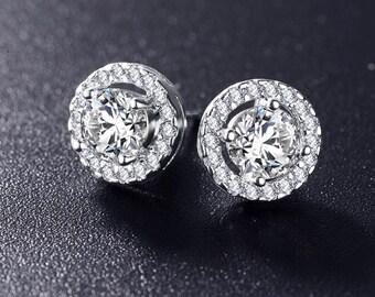 Circle diamanté stud earrings