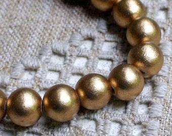 66pcs 12mm Wood Natural Metallic Gold Round Beads 32in Strand