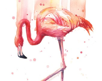 Pink Flamingo Wall Art Flamingo Watercolor Home Decor Flamingo Rain Art Print Tropical Bird Painting Tropical bird Print