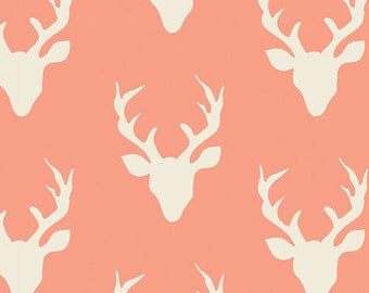 Hello Bear fabric, Coral Ivory Nursery Quilt fabric, Deer Fabric, Coral Orange fabric- Buck Forest in Coral, Choose your cut