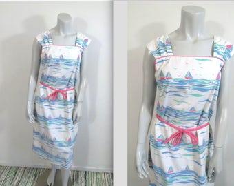 Vintage 70s The Vested Gentress Whimsical Sailboat Print Dress L