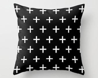 Black and White Pillow - Swiss Cross Pillow - Modern Decorative Pillows - Black - Velveteen Pillow Cover - Modern Home Decor - Gift Ideas
