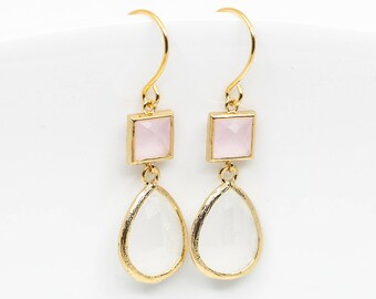Earrings Gold-plated pink white drops