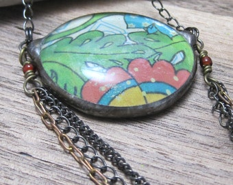 Bohemian Layers | Chain Necklace | Stained Glass | Fused Glass | Gift Under 50 | Colorful | BOHO | Hippie | Long Necklace
