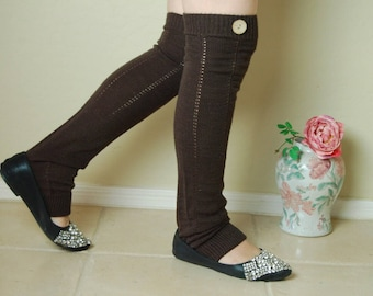On sale! Christmas gift!Cute brown Leg Warmers.Birthday gift for her. leg warmers ,boots long cuffs,