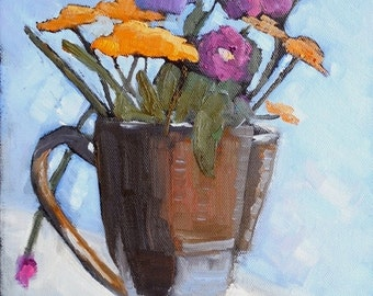 "Flower Still Life Painting, Impressionist art,  Small Oil Painting,  Floral Still Life, 9x12x.75"" Oil  Original"