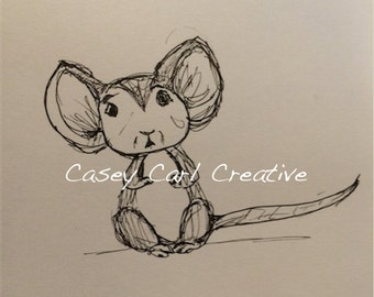 Scared Mouse Pen Sketch Drawing