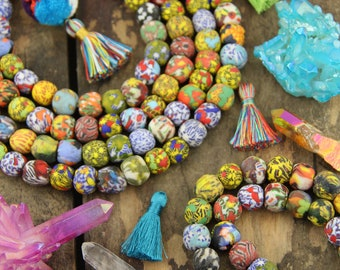 Multi Color Baubles: Mosaic Sandcast Ghana African Round Glass Beads 14mm, 40 pcs, Boho Gypsy Tribal Jewelry Making, Summer Festival Fashion