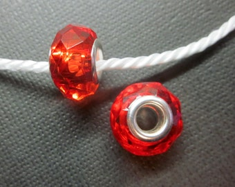 Red Acrylic Gem Spacer Bead European Charm Sized