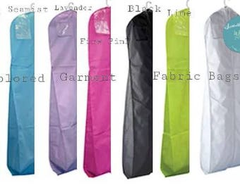 "72""- 6 fabric colors - Seamist Garment Bag - Lavender Garment Bag - Pink Garment Bag - Black Garment Bag - Lime Garment Bag - White Gown Bag"