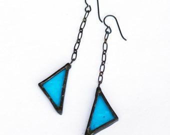 Stained Glass Earrings- Triangle Earrings- Chain Earrings- Long Dangle Earrings,  Statement Earrings