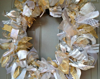 Silver and Gold Wreath, Silver and Gold Christmas Wreath, Silver Wreath, Gold Wreath, Silver and Gold Holiday Wreath, Elegant Silver Gold