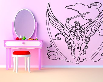Wall Art Vinyl Sticker Hercules Myth Hero Legend Half God Tribal Unicorn Horse Pegasus Mythical Creature Magical Pony Poster ZX230