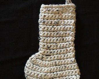 Crocheted,off-white, freckled mini stocking