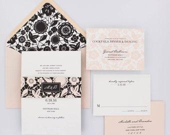 Wedding Invitations, Floral Wedding Invitation, Black and Gold, Roses, Modern, Urban Chic Wedding Invitation - Classic Lace Sample