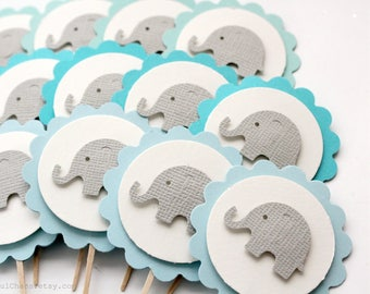 24 Aqua Blue Mint Baby Elephant Cupcake Toppers, Boy Baby Shower, Birthday, Party Decorations