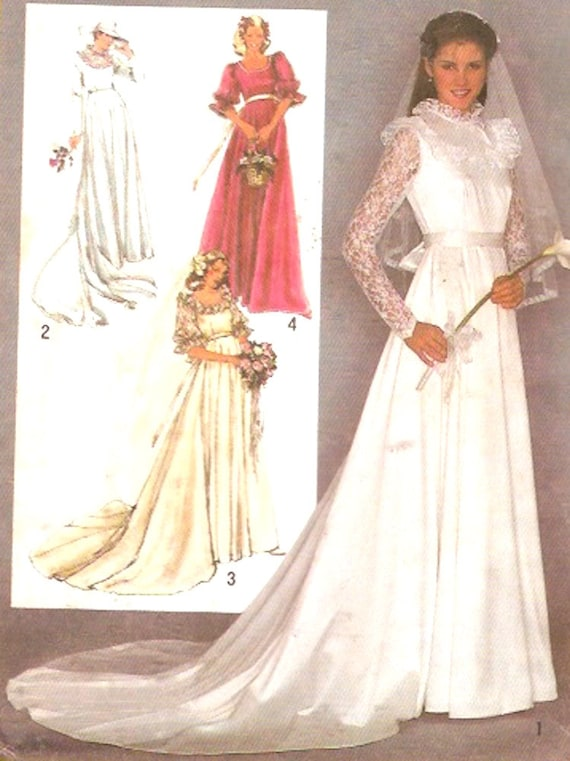 80s Wedding dress and bridesmaid dresses pattern retro vintage