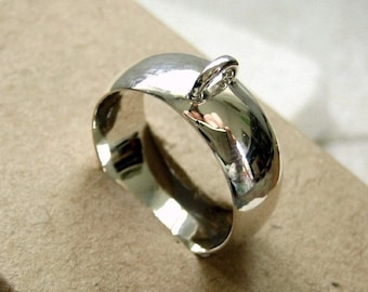Bali Sterling Silver Wide Ring Base Blank with Loop - Size 6