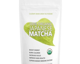 Japanese Matcha Ryori (16oz/453g)- USDA Organic, Vegan and Gluten-Free. Pure Matcha Green Tea Powder. FREE 1-3 Day USA Shipping
