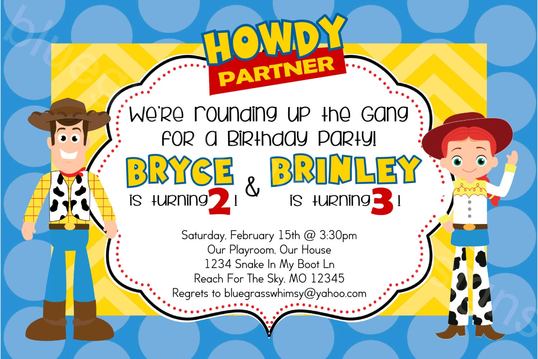 Toy Story Woody & Jessie Disney/ Pixar Printable Birthday