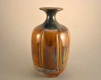 Message in a Bottle/autumn/amber/honey brown/handmade/wood-fired/bottle/