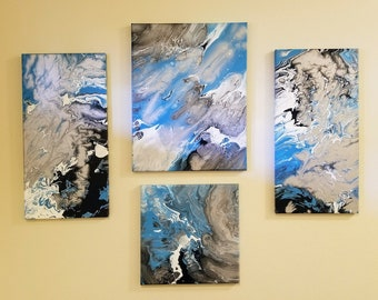 Earth Tones 4 panel canvas painting