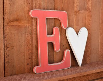 "Wooden letters - Shabby Chic, Cottage, Distressed - Rustic wood letters - 12"" tall"