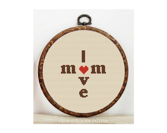 I Love Mom-Cross Stitch Pattern-Modern Sampler-Pdf-Instant Download