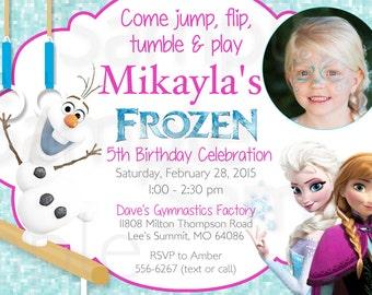 PHOTO INVITATION CARD Frozen Olaf Queen Elsa Girls Gymnastics or Trampoline Birthday Printable Invitation