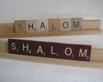 SHALOM (peace) scrabble tiles sign, for your desk, gift it, teachers gift, co worker gift etc. Hand made.