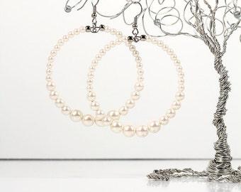 Large Hoop Earrings With Swarovski Pearls