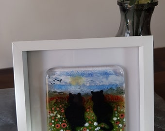 Fused glass art, Black cats, Poppy fields, wall art, Small gift, wall hanging, Home decor
