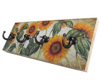 Sunflower Wall Key Holder Entryway Hooks for Keys, Key Rack  Sunflower Wall Decor, Key Hook Hanger (6)