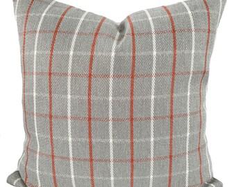 Gray pillow cover, Lumbar pillow, Lumbar pillow cover, Gray throw pillow, Plaid pillow, Orange pillow, Decorative pillow, 4 sizes available