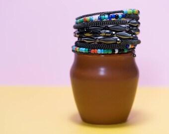 Beaded memory wire bangle / coil bracelet