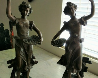 Set of two Antique Art Nouveau French Figural Patinated Bronze statues