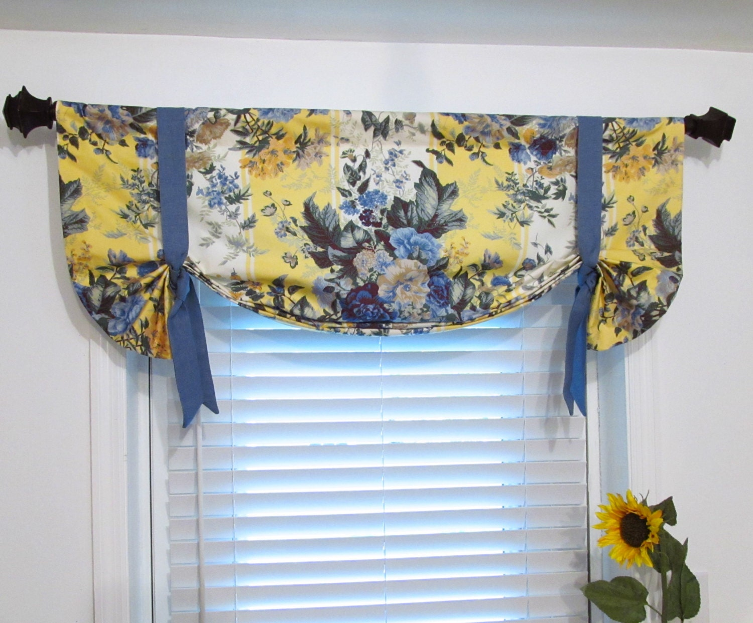 Floral Tie Up Lined Valance Yellow Blue Custom Sizing