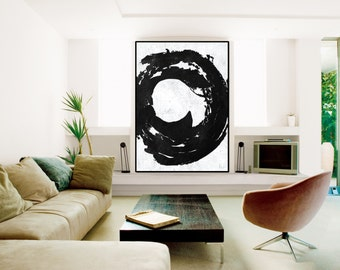 Large original Abstract Painting canvas wall art, original painting, extra large wall art canvas hand painting black and white  Signed